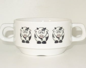 Soup Bowl , 1 pcs, cow soup bowl small baby child kids , Bottom, hidden message, secret message, Soup Bowl, porcelain