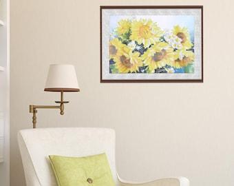 Sunflower Diamond Cross Stitch DIY Kit Rhinestone Mosaic Canvas Painting Home Wall Decor 25 x 35cm