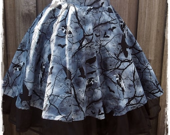 Ravens Bats and Spooky Trees Circle Skirt Size Small to Medium - Ready to Ship - Gothic Halloween Costume