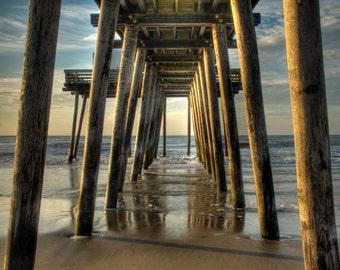 Under the Pier, Ocean City, New Jersey Shore, Color Photograph, Beach Decor, Ocean, Summer Morning, Sand, Blue Sky, Art Print