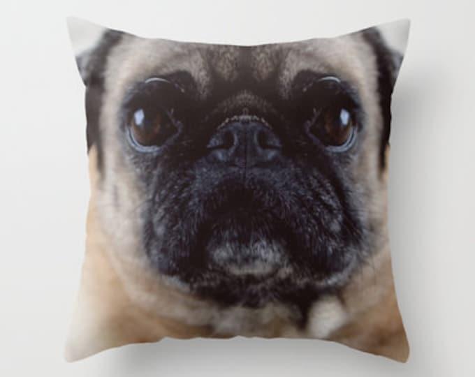 Pug Pillow Cover - Throw Pillow Cover - Includes Pillow Insert - Pug Photo - Sofa Pillow - Home Decor Pillow - Pug Lover - Made to Order