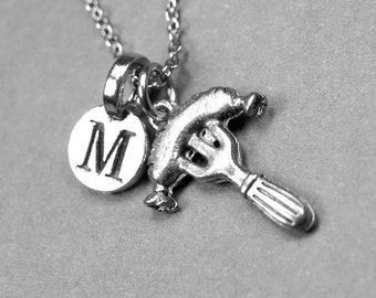 Hot Dog Fork Necklace, hot dog charm, silver plated pewter, initial necklace, initial hand stamped, personalized, monogram