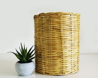 Vintage woven wicker basket, Waste basket, Plant holder