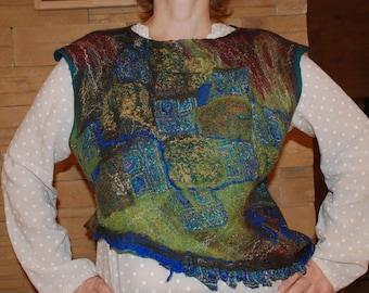 Felted Vest merino wool new Zealand carded wool Hippie vest original Felted item