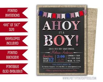 Sailor Baby Shower Invitation - Ahoy Its A Boy Baby Shower Invite - Nautical Baby Boy Invite - Nautical Invitation - Its A Boy Shower