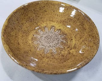 Yellow Garlic grater bowl with flower design. Handmade  pottery. Dipping bowl