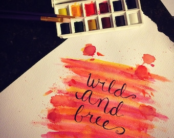 Custom Watercolor Lettering 5X7