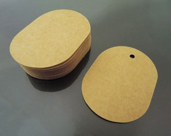 Paper Tags 5.5cm x 4cm - Kraft Clothing Tags Round Oval Tag Price Tags Hang Tags Gift Tags Brown Tag Plain Tags with Hole
