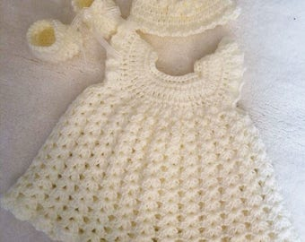 Beautiful Hand Crocheted 3 PC Set For Baby Girl: 0-3 Months
