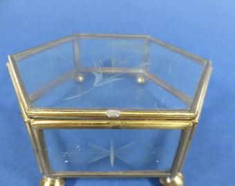 Vintage Glass Brass Hexagon Box - Glass Brass Display Box