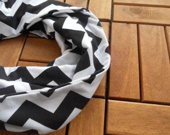 Black and White Chevron Infinity Scarf/ Infinity Scarf