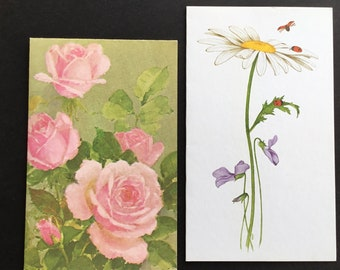 Vintage (Unused) blank Greeting Cards, daisy, ladybugs, & Pink Roses, Current, Buzza