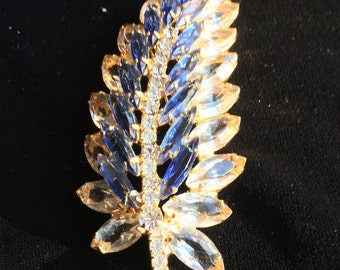 Juliana Brooch Pin Leaf Blue Rhinestones Gold Tone Metal
