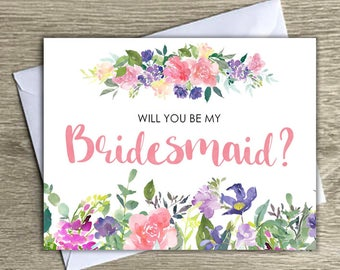 Will you be my bridesmaid notecard, floral bridesmaid notecard, bridesmaid request, bridesmaid notecards with envelopes