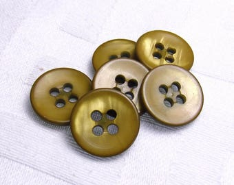 """Brassy Mustard: 1/2"""" (13mm) Iridescent Gold Buttons - Set of 6 Vintage New Old Stock Buttons"""
