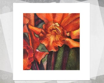 Tiny Fires Miniature Giclee Print - Realistic Orange Orchids, Realistic Watercolor Flowers, Floral Painting, Botanical Painting