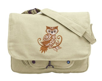 Owl with Flourish Embroidered Canvas Messenger Bag
