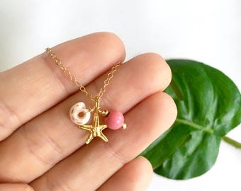 Puka Shell,  Pink Bead, and Starfish Charm Necklace, Gold Fill, Nautical Starfish