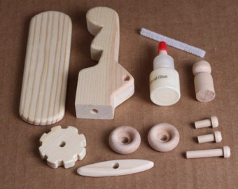 Handcrafted Large Wooden Toy Airplane Kit 102K