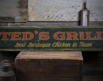 Grill Sign, Custom Wood Sign for BBQ Pit Decor, Grill Master Gift for Dad, BBQ Chicken Sign, Rustic HandMade Vintage Wooden Sign ENS1001818