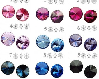 1122 Swarovski Crystal Rivoli 12mm perfect for earwires and pendants