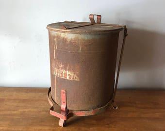 Vintage industrial rag tin trash can - great patina