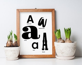 Printable Art - Type A Print - Digital Download - Typography - 8.5 x 11 PDF Poster - Font Poster - Letter 'A' Print - Black & White Letters