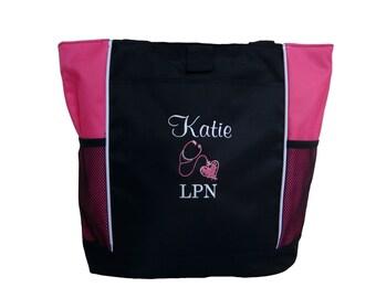 Tote Bag Personalized Nurse Nursing RN MSN OT lpn emt bsn cna er icu Student Practitioner Respiratory Medical Assistant Heart Stethoscope