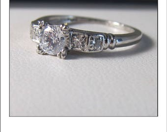 Antique Art Deco Platinum .50 Ct. Diamond Engagement Ring Inscribed  MLJ - GLC  8-4-47