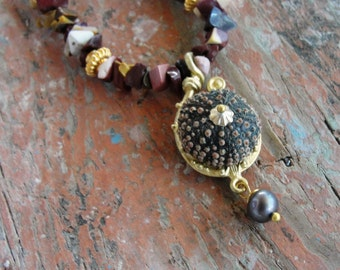 Sea Urchin Jasper Necklace with Pearl and Gold Plated findings