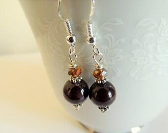 Garnet Dangle Earrings, Sterling Silver