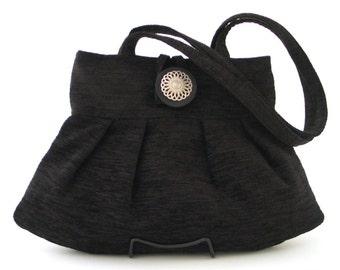 black handbag, shoulder bag, retro bag, small tote bag, black purse, fabric bag, tapestry purse, black chenille purse