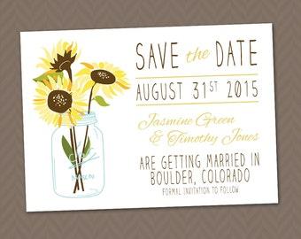 Sunflower Wedding Save the Date,  DIY Printable Rustic Mason Jar Country Wedding