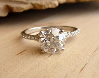 Filigree Moissanite and Diamond Half Eternity Ring - Deposit