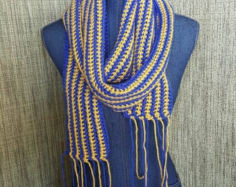Blue and Gold striped crochet scarf with fringe