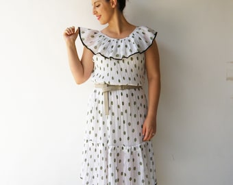 Vintage 1930s Style Crepe Dress / White and Green Polka Dot Dress / Size M L