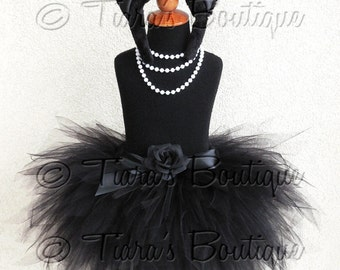 "Black Cat Tutu Halloween Costume - Obsidian Kitty - Black Custom Sewn 3 Tiered 15"" Pixie Tutu w/ Cat Ears & Tail - Girls sizes 6 to 8"