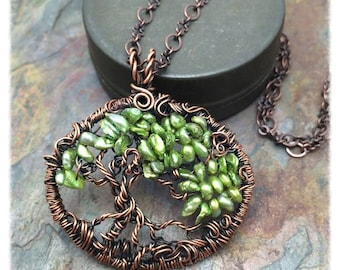 Tree of Life Wire Wrapped Necklace Peridot Green Keshi Pearl Gemstone, Inspirational Jewelry, Free Shipping, St Patricks Day