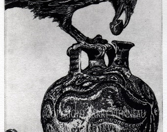 Raven artwork , Raven, crow,  black bird,  Aesop Fables,  etching