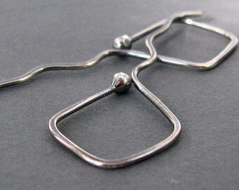 Antiqued Earrings Sterling Silver Geometric Hoops, Hammered Kite Tails - Artisan Jewelry