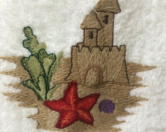 Hand Towel - Embroidered Sandcastle