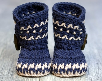 Crochet Pattern - Dakota Baby Boot - Boy - Girl -  Instant Download -  PDF  kc550