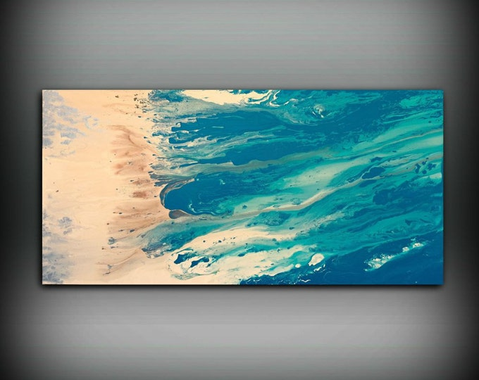 """Beach Coastal Painting 24"""" x 48"""", Acrylic Painting on Canvas, Abstract Painting, Contemporary Art, Large Wall Art, By L Dawning Scott"""
