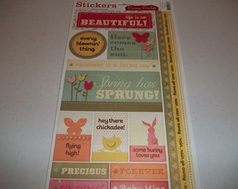 """Sweet Spring Cardstock Stickers by Cosmo Cricket 5.5"""" x 13"""" sheet"""