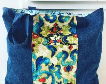Extra Large Denim Tote/ Beach Bag/ Market Bag