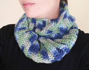 Blue, green infinity scarf