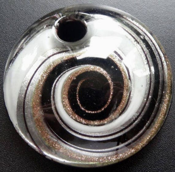 Beautiful vintage black white gold & silver murano glass circle pendant for necklace