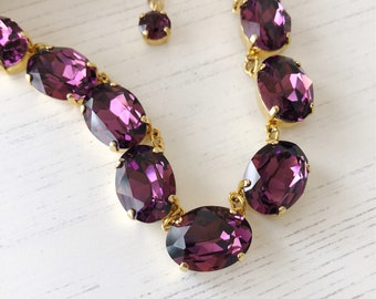 Amethyst Anna Wintour Necklace, Crystal Collet, Riviere, Swarovski Necklace, Georgian Collet