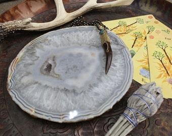 Agate Platter Natural  - Small Size - 17 to 23 cm - Thick Agate Slab - Table Setting - Home decor & Spiritual Gift (HW5-02)