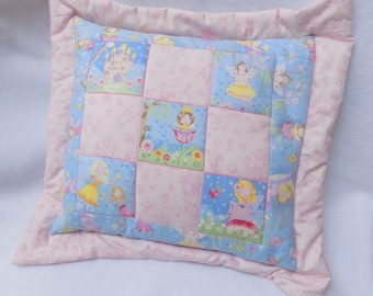 Handmade Fairy Patchwork Cushion Cover in Blue and Pink with Fairies, Flowers, Castles and Rainbow 43cm (17 inch) square